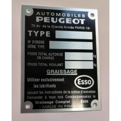 Peugeot vin plate