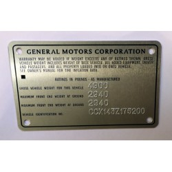 General Motors GMC Id plate