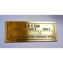 ABF Cars Id plate