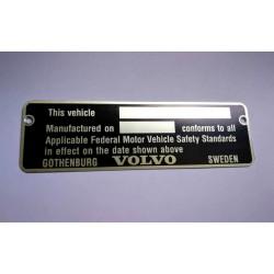 Volvo vin plate