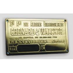 Chenard & Walcker Id plate