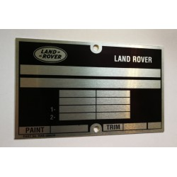 Land Rover vin plate