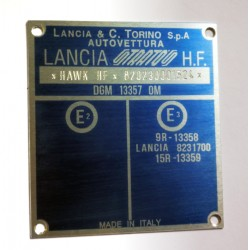 Lancia Torino vin plate