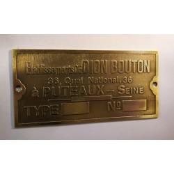 de Dion Bouton Id plate