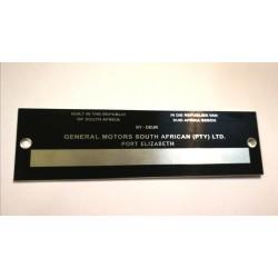 General Motors South African Id plate