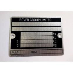 Rover vin tag