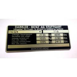 Daimler- 116 Benz id plate
