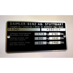 Daimler-Benz 250 sl - id plate