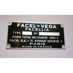 Facel Vega identification plate