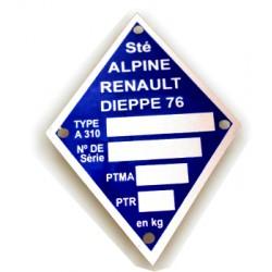 Renault Alpine A310 identification plate