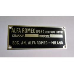GRAN TURISMO Alfa Romeo vin plate