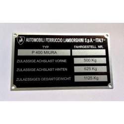 Lamborghini Id plate