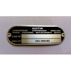 Austin Id plate