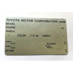 Toyota vin tag