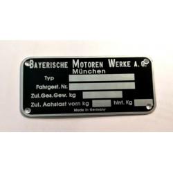 BMW vin tag - BMW id plate