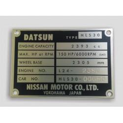Datsun Id plate