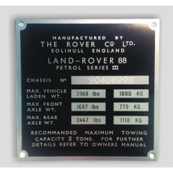Land Rover id plate