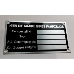 Id Plate for all brands - German version